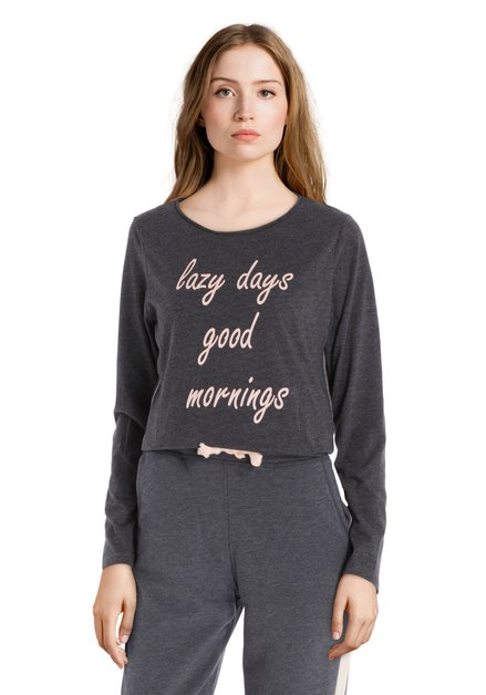 T-shirt anthracite 'Lazy Days' à col rond