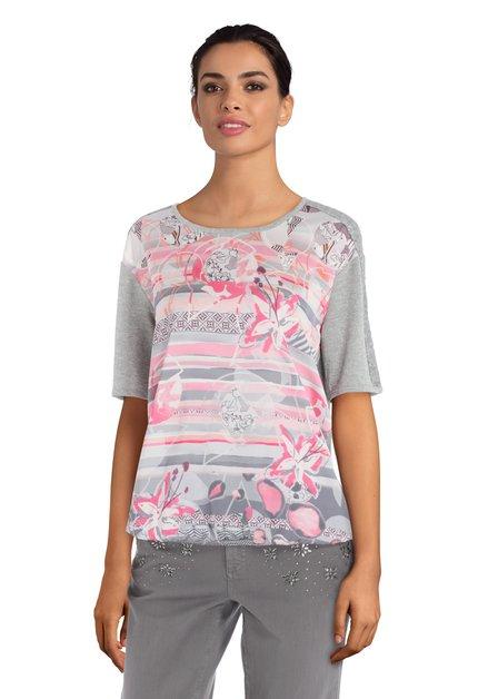 T-shirt argenté à imprimé rose et paillettes
