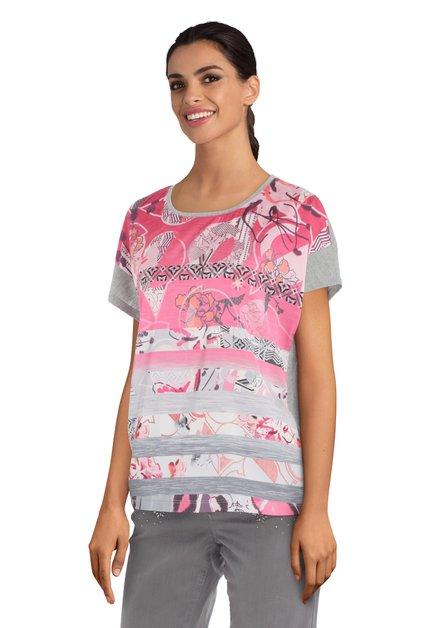 T-shirt argenté avec imprimé rose et lurex