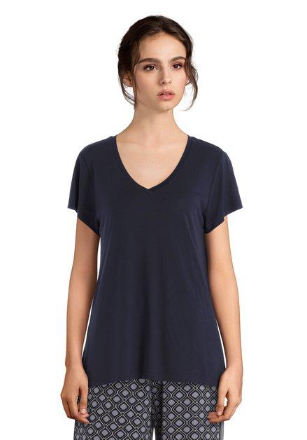 T-shirt basic bleu foncé à encolure en V