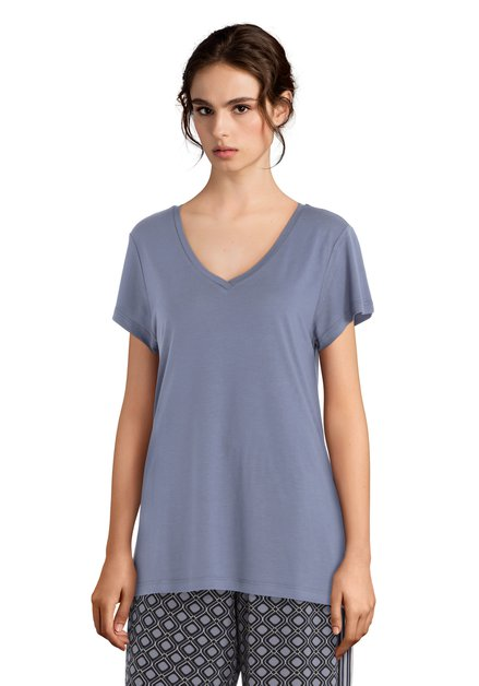 T-shirt basic gris à encolure en V