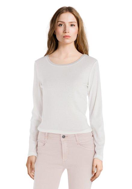 T-shirt blanc à col rond en lurex