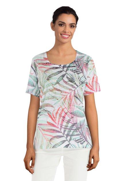 T-shirt blanc à feuilles multicolore