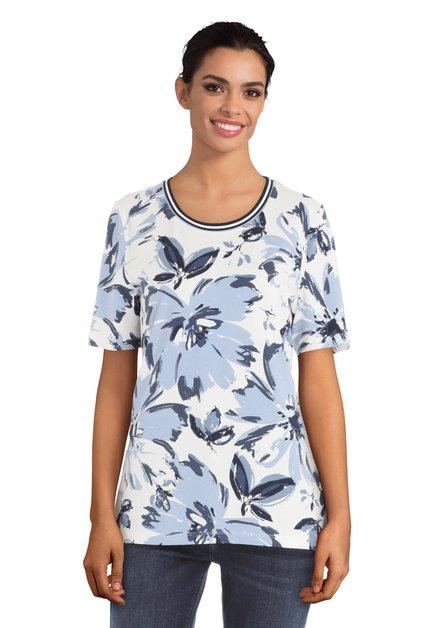 T-shirt blanc à fleurs bleues