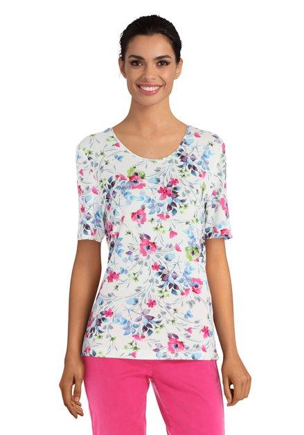 T-shirt blanc à fleurs colorés