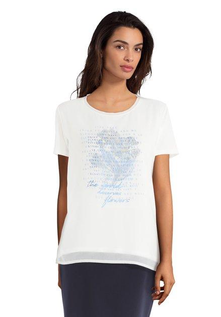 T-Shirt blanc à imprimé en deux couches