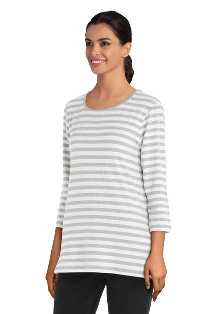 T-shirt blanc à lignes grises