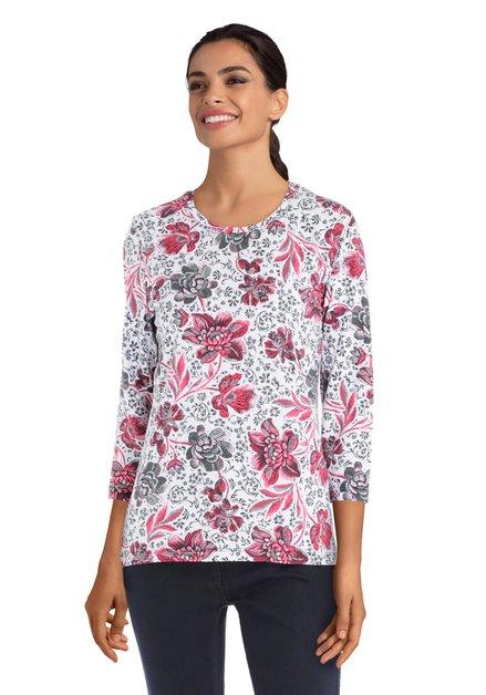T-shirt blanc à motief fleuri gris et rose