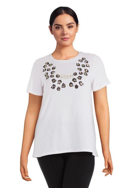 T-shirt blanc à paillettes noires