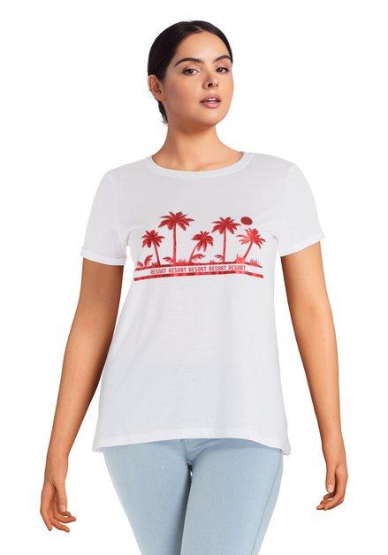 T-shirt blanc à palmiers rouges