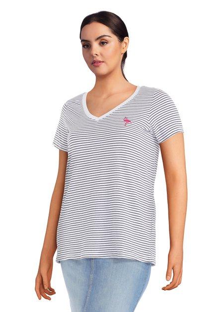 T-shirt blanc à rayures bleues et flamant rose