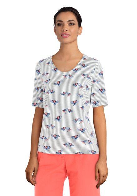 T-shirt blanc à rayures et oiseaux
