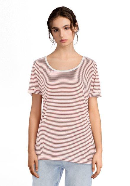 T-shirt blanc à rayures orange