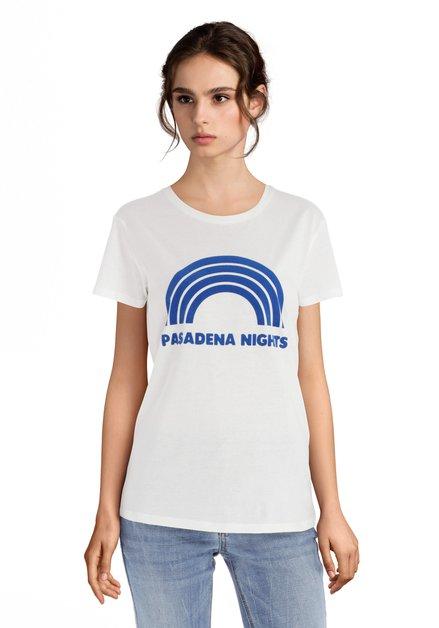T-shirt blanc à texte bleu «Pasadena Nights»