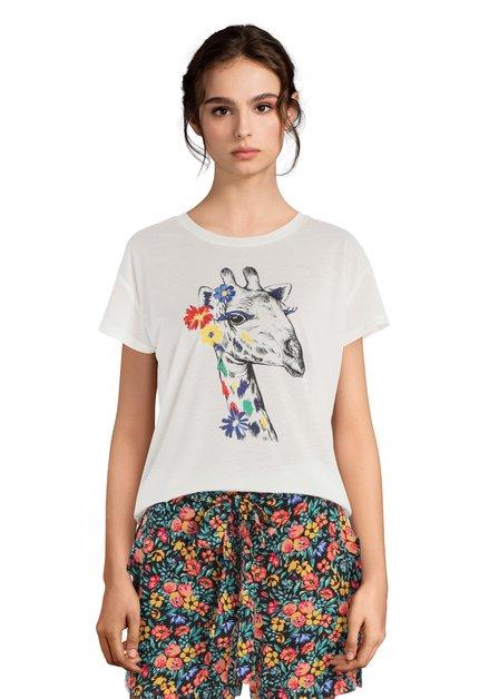 T-shirt blanc avec girafe