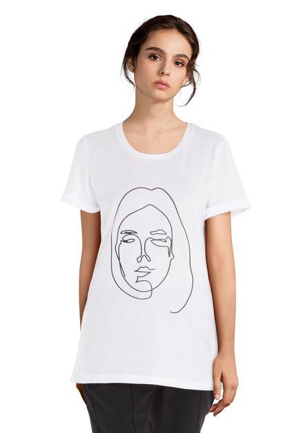 T-shirt blanc avec imprimé et encolure arrondie