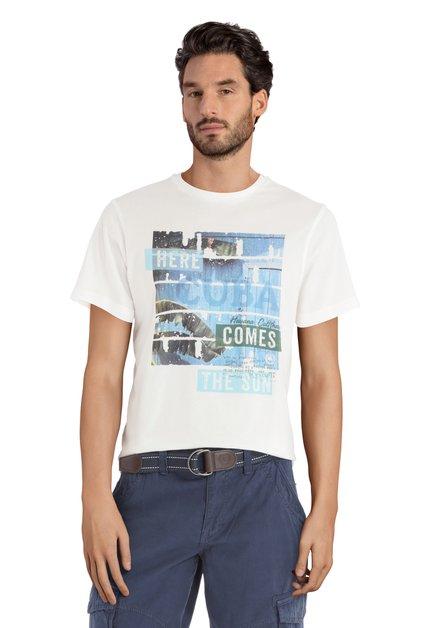 T-shirt blanc avec inscription bleue