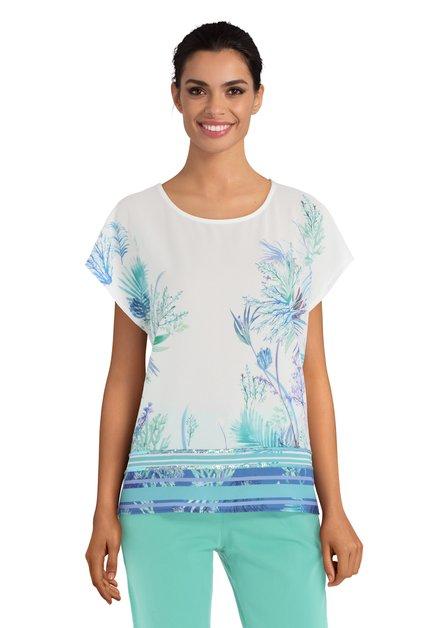 T-shirt blanc avec motif bleu et perles