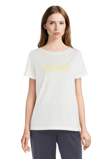 T-shirt blanc avec texte jaune «BLISS»