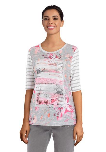 T-shirt blanc/gris à rayures et imprimé