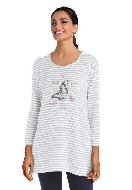 T-shirt blanc ligné avec imprimé