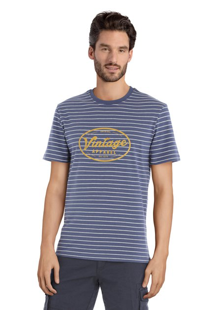 T-shirt bleu à imprimé jaune « Vintage »