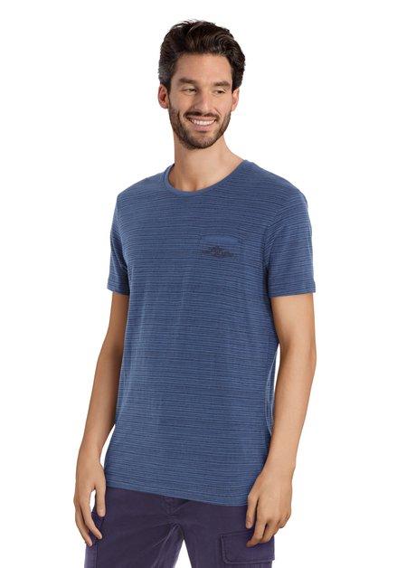 T-shirt bleu à motif noir