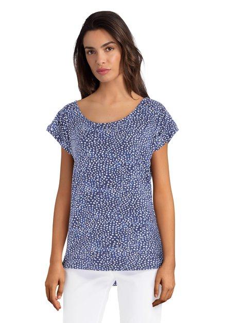 T-shirt bleu à pois avec manches courtes