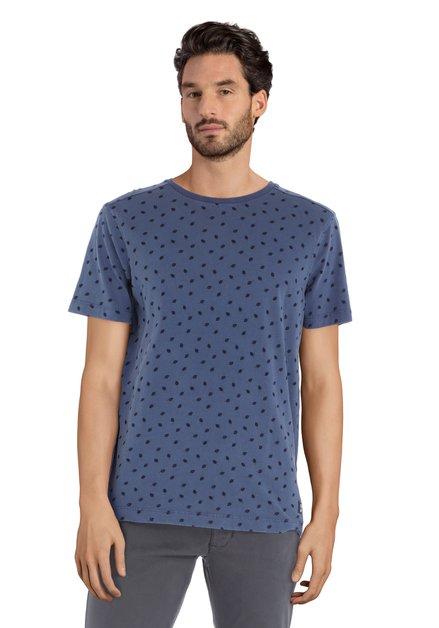 T-shirt bleu acier à col rond et imprimé feuilles