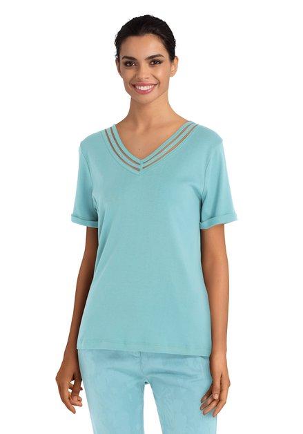 T-shirt bleu avec découpures et strass