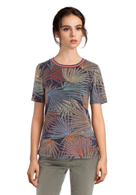 T-shirt bleu avec imprimé à palmiers multicolores