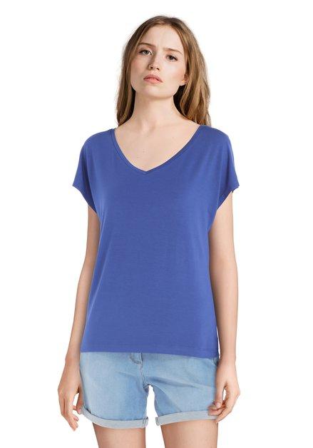 T-shirt bleu basique à encolure en V