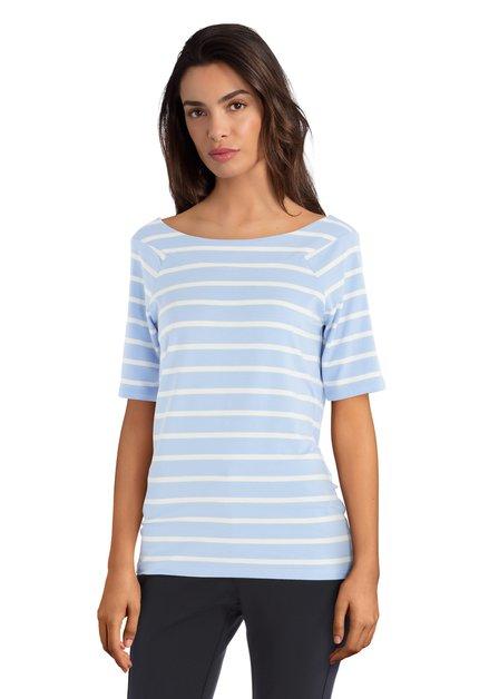 T-shirt bleu clair à rayures blanches