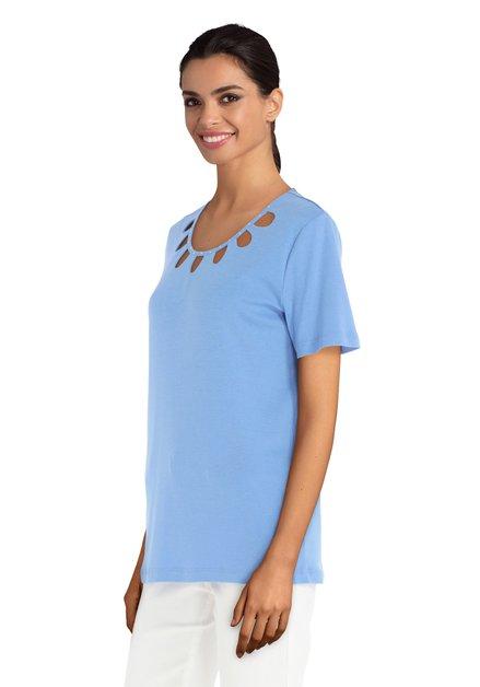 T-shirt bleu clair avec découpures et strass