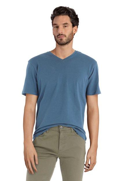 T-shirt bleu foncé à encolure en V
