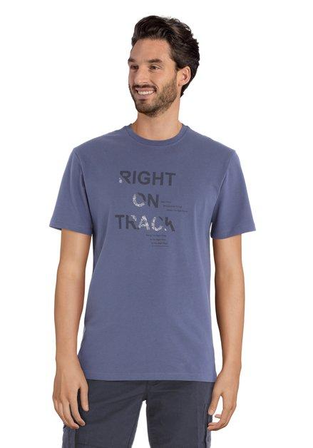 T-shirt bleu foncé à imprimé