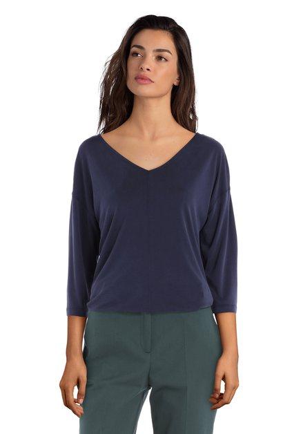 T-shirt bleu foncé avec col en v en modal