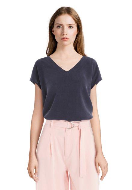 T-Shirt bleu foncé avec encolure en V