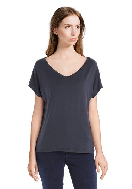 T-shirt bleu foncé basique à encolure en V