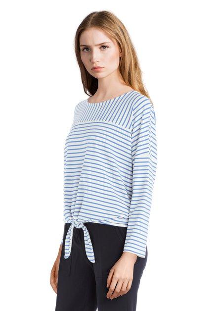 T-shirt bleu ligné avec nœud
