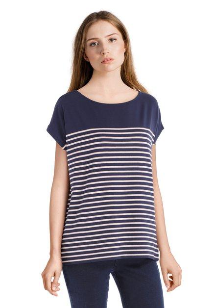 T-shirt bleu ligné basique