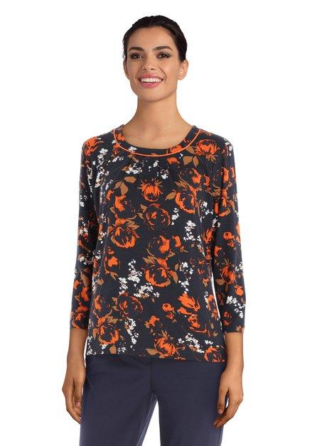 T-shirt bleu marine à fleurs orange