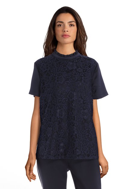 T-shirt bleu marine dentelle et soie