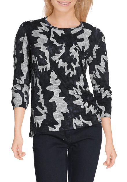 T-shirt bleu-noir avec motif
