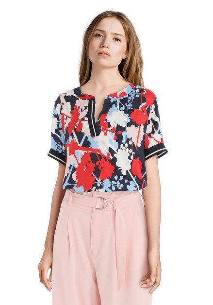 T-shirt bleu-rouge à imprimé à fleurs