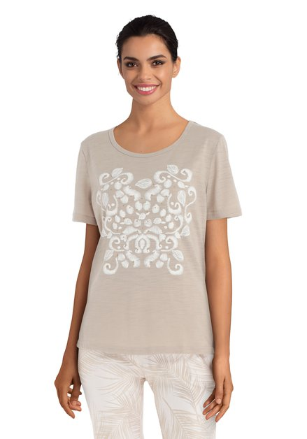 T-shirt brun avec perles et motif blanc