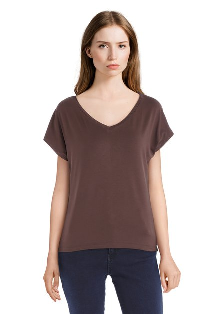 T-shirt brun basique à encolure en V