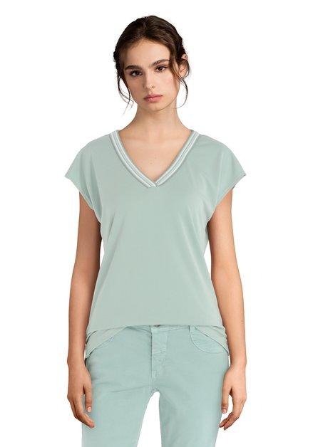 T-shirt couleur menthe avec col en V