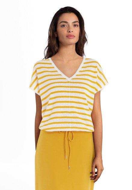 T-shirt écru à rayures jaunes