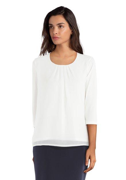 T-shirt écru avec du tissu transparent